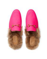 Slipper Princetown de Piel Fluorescente Gucci de hombre de color Pink