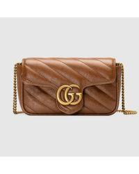 Gucci 【公式】 (グッチ)〔GGマーモント〕キルティング スーパーミニバッグブラウン レザーブラウン Brown