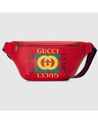 Gucci Red Gürteltasche aus Leder mit Print