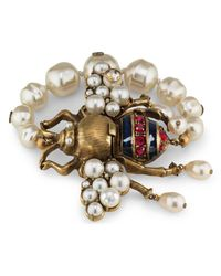 Gucci Metallic Bee Bracelet With Crystals And Pearls