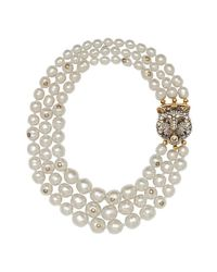 Gucci | Multicolor Layered Pearl Necklace With Feline Closure | Lyst