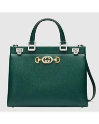 Gucci 【公式】 (グッチ)〔グッチ ズゥミ〕ミディアム トップハンドルバッグダークグリーン グレインレザーグリーン Green