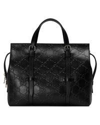 Gucci Black GG Embossed Tote Bag for men