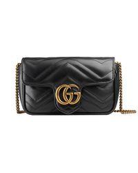 Gucci Black GG Marmont Matelasse Leather Super Mini Bag