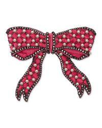 Gucci - Pink Velvet Bow Brooch - Lyst