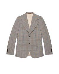 Gucci Gray Heritage Retro Check Jacket for men