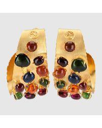 Gucci Multicolor Creolen mit Cabochonsteinen