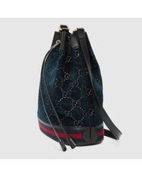 Gucci Blue Bucket Bag aus GG Samt