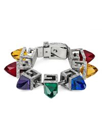 Gucci - Metallic Bracelet With Square G Cubes In Silver - Lyst