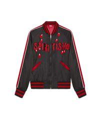 "Gucci Black ""spiritismo"" Silk Bomber Jacket for men"