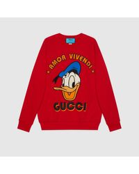 Gucci 【公式】 (グッチ)disney(ディズニー)x ドナルドダック スウェットシャツレッドレッド Red