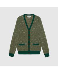 メンズ Gucci 【公式】 (グッチ)GGストライプ ウール カーディガングリーン&キャメルグリーン Green