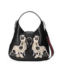 Gucci Black Dionysus Embroidered Large Leather Hobo