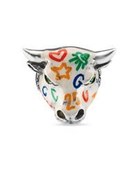 Gucci - Metallic Anger Forest Enameled Bull's Head Ring - Lyst