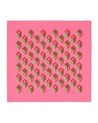 Gucci Pink Gg Wallpaper Print Silk Scarf