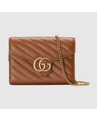 Gucci 【公式】 (グッチ)〔GGマーモント〕キルティング ミニバッグブラウン レザーブラウン Brown