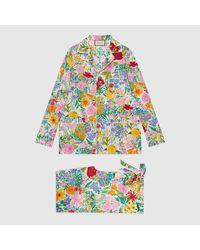 Gucci 【公式】 (グッチ)ケン・スコット プリント シルク パジャマ セットアイボリーホワイト Multicolor