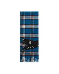 Gucci - Blue Check Wool Scarf With Wolf for Men - Lyst