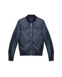 Gucci Blue Reversible Gg Jacquard Nylon Bomber Jacket for men