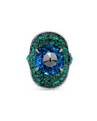 Gucci - Gray Ring With Stud And Crystals - Lyst