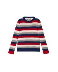 Gucci Blue Striped Cashmere Crew Neck Sweater for men