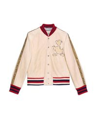 Gucci White Leather Bomber Jacket With Donald Duck Appliqué for men
