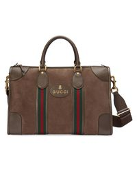 Gucci Brown Suede Duffle Bag With Web for men