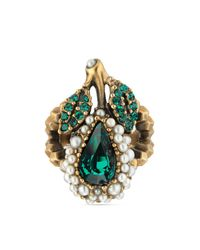 Gucci - Metallic Crystal Pear Ring In Metal - Lyst