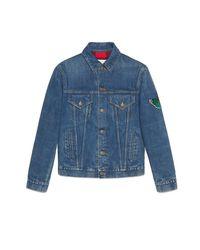 Veste en jean avec broderies Gucci pour homme en coloris Blue