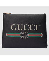 Gucci Black Mittelgroße Aktentasche aus Leder mit Print