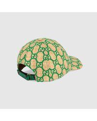 メンズ Gucci オンライン限定スネークレザーディテール付き GGベースボールキャップ Green