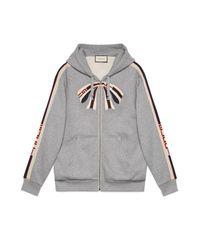 Gucci Gray Oversize Zip Up Sweatshirt With Stripe