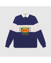 メンズ Gucci グッチ ロゴ オーバーサイズ コットン ポロシャツ Blue