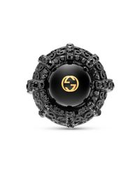 Gucci - Black Ring With Resin Pearl - Lyst