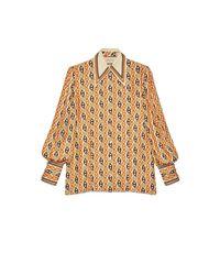Chemise à imprimé chaîne Marine avec nœud de cou Gucci en coloris Natural