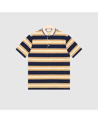 メンズ Gucci 【公式】 (グッチ)ジャカード ストライプ コットン ポロシャツダークブルー、アイボリー&オレンジブルー Blue