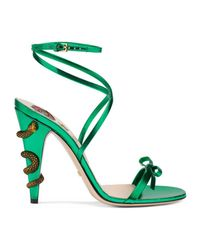 Gucci Green Leather Crisscross Sandal