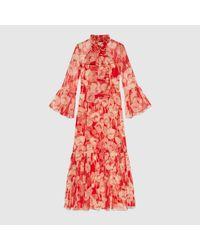 Gucci Red Kleid aus Seide mit Mohnblumen Print