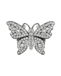 Gucci - Metallic Crystal Studded Butterfly Ring In Metal - Lyst
