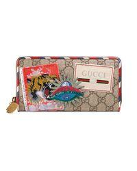 Gucci Natural Courrier GG Supreme Zip Around Wallet
