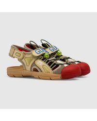 Gucci Herren-Sandale aus Leder und Netz in Natural für Herren