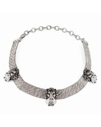 Gucci Multicolor Lion Head Choker With Light Blue Crystals