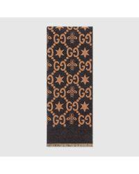 Gucci GG Jacquard-Schal mit Bienen und Sternen in Blue für Herren