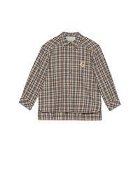 Chemise en laine et coton à carreaux coupe étroite Gucci en coloris Natural