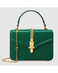 Gucci 【公式】 (グッチ)〔シルヴィ 1969〕パテントレザー ミニ トップハンドルバッグエメラルドグリーン パテントレザー グリーン Green