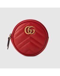Gucci Red Runde GG Marmont Mini-Schultertasche