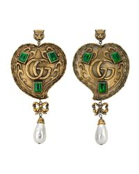 Gucci - Metallic Heart Earrings With Pearls - Lyst