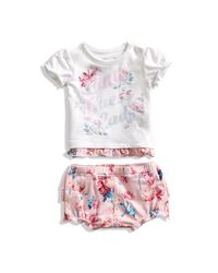 Guess - Pink Short-sleeve Tee And Shorts Set (0-12m) - Lyst