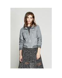 Guess - Gray Bridgette Suede Jacket - Lyst