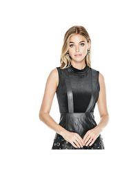 Guess - Black Erika Velvet Bodysuit - Lyst